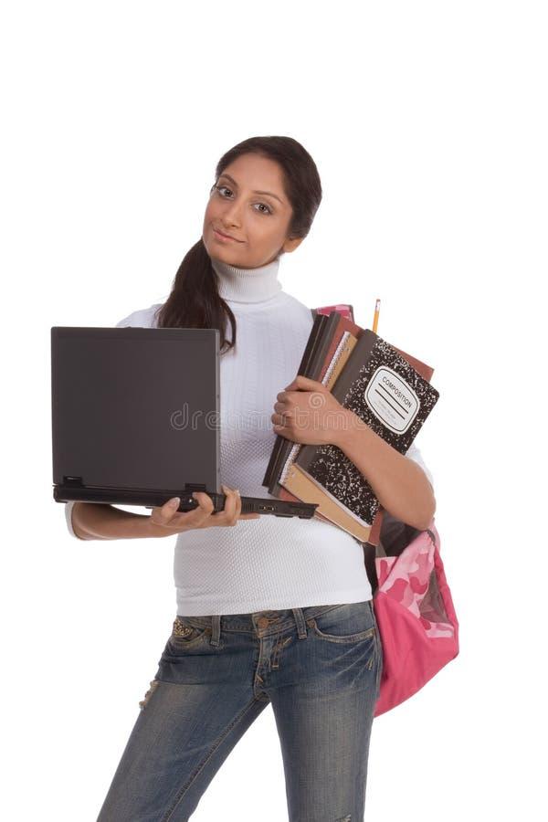 学院种族印第安膝上型计算机个人计&# 免版税库存图片