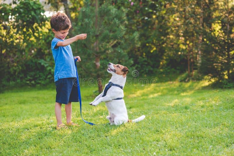 学龄前儿童做狗与他的宠物的孩子男孩守纪培训班 免版税库存照片