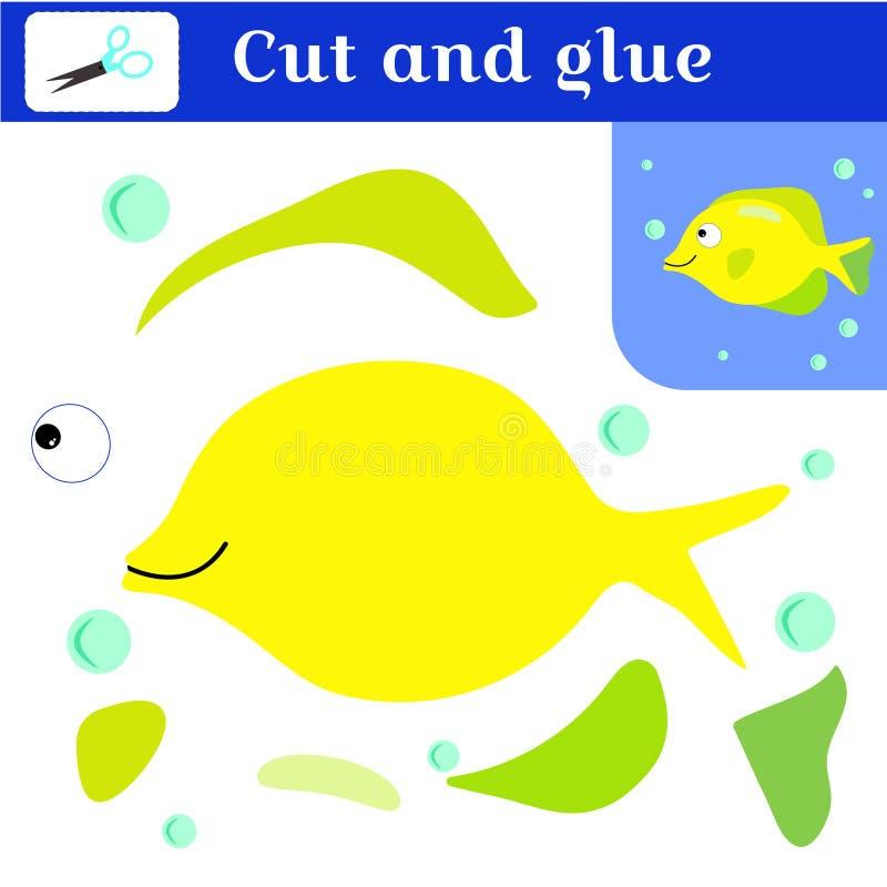 学龄前儿童的纸针比赛 难题-补花 删去和胶浆 手工制造创造鱼 黄色鱼和蓝色泡影 向量例证
