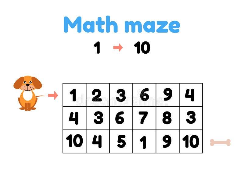 学龄前孩子的比赛 数学迷宫 帮助小狗有骨头 从1的发现数字到10 皇族释放例证
