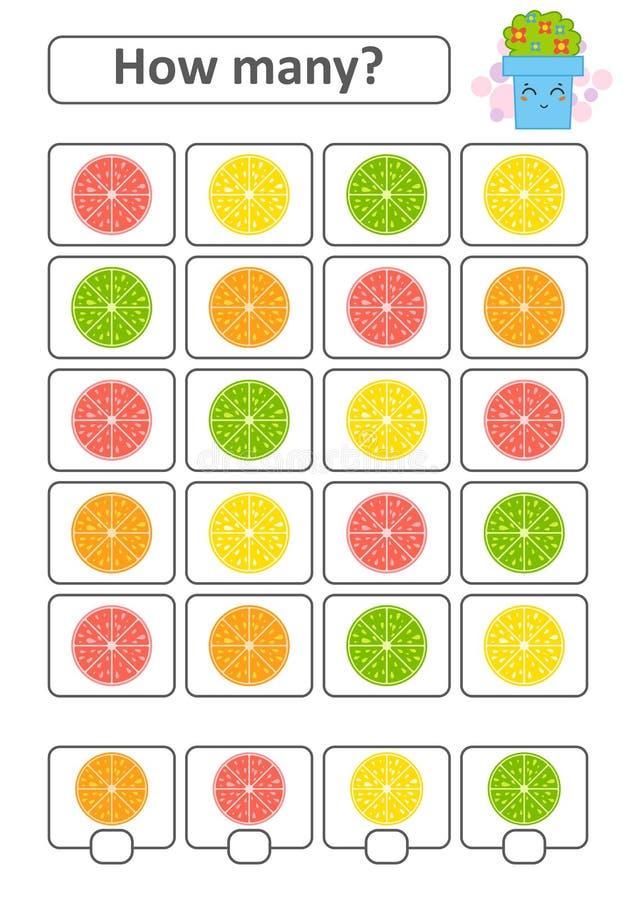 学龄前孩子的比赛 计数在图片的许多果子并且写下结果 柠檬,石灰,桔子,葡萄柚 与 皇族释放例证