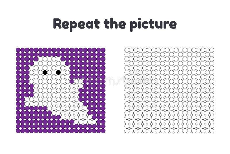 学龄前孩子的比赛 重复图片 绘圈子 万圣节 在紫色背景的白色鬼魂 皇族释放例证