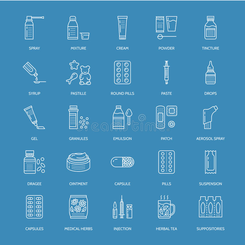 医学,剂量表蓝线象 药房药剂,片剂,胶囊,药片,抗生素,维生素 库存例证