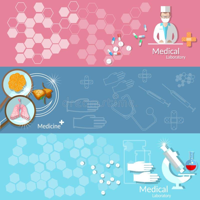 医学医疗保健献血配药学横幅 向量例证
