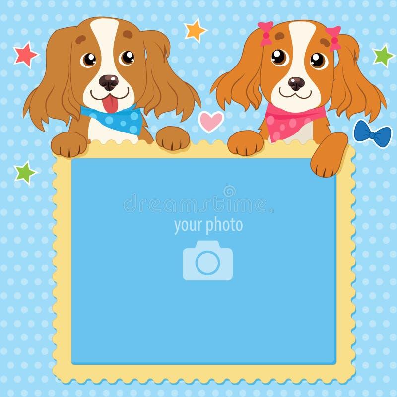 婴孩、家庭或者记忆的装饰模板 与传染媒介照片框架的两只卷毛狗 儿童结构照片兔子s 向量例证