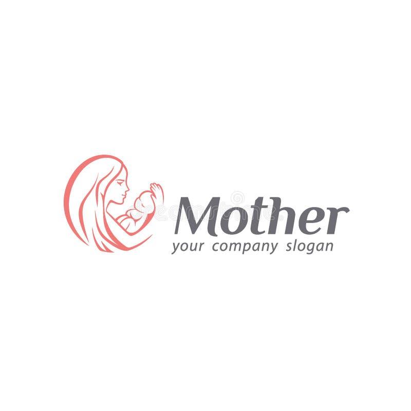 婴孩关心、母性和生育子女商标  母亲商标 库存例证