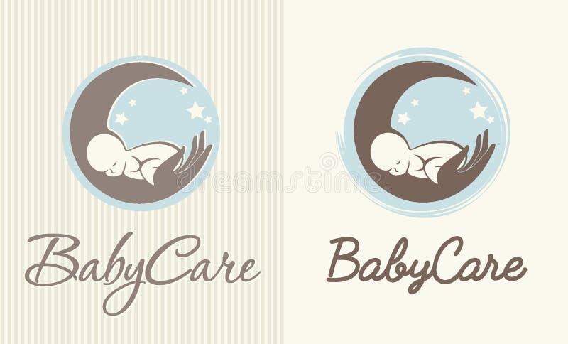 婴孩关心、母性和生育子女商标  库存例证