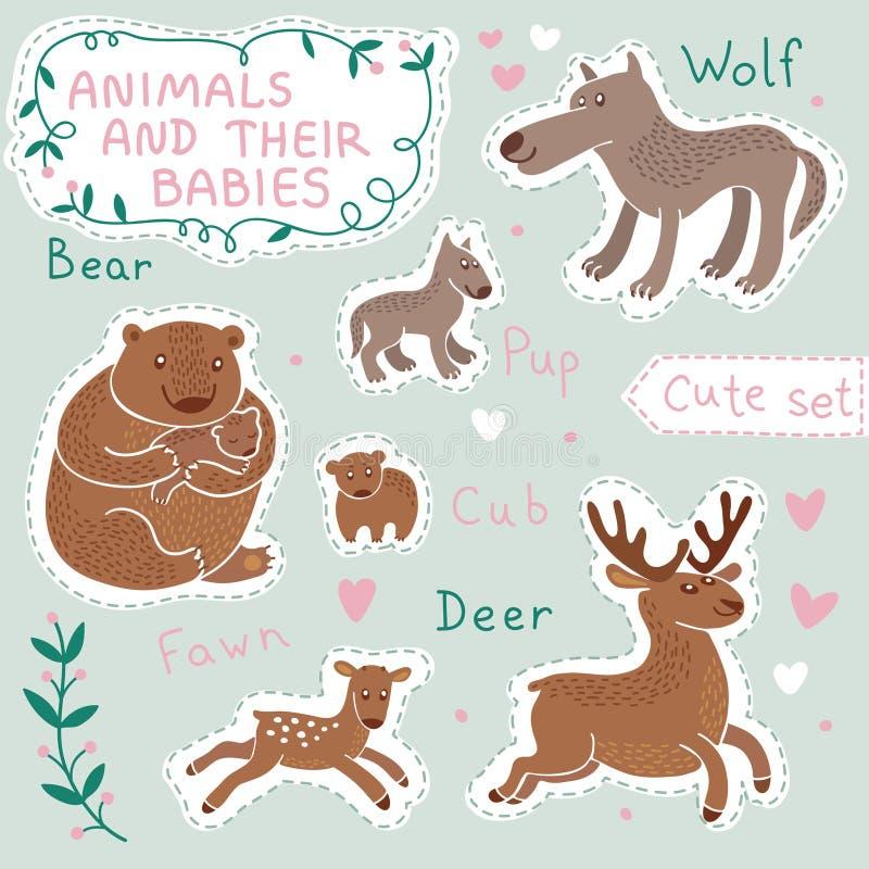 婴孩和妈妈动物集合 向量例证