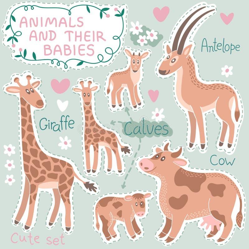 婴孩和妈妈动物集合 皇族释放例证