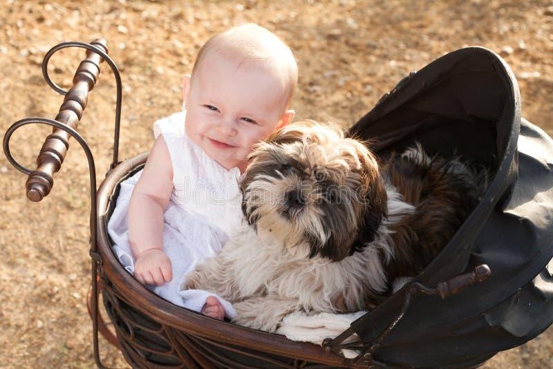 婴孩和小狗在葡萄酒摇篮车 免版税库存图片