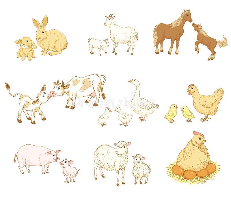 婴孩和母亲动物 向量例证