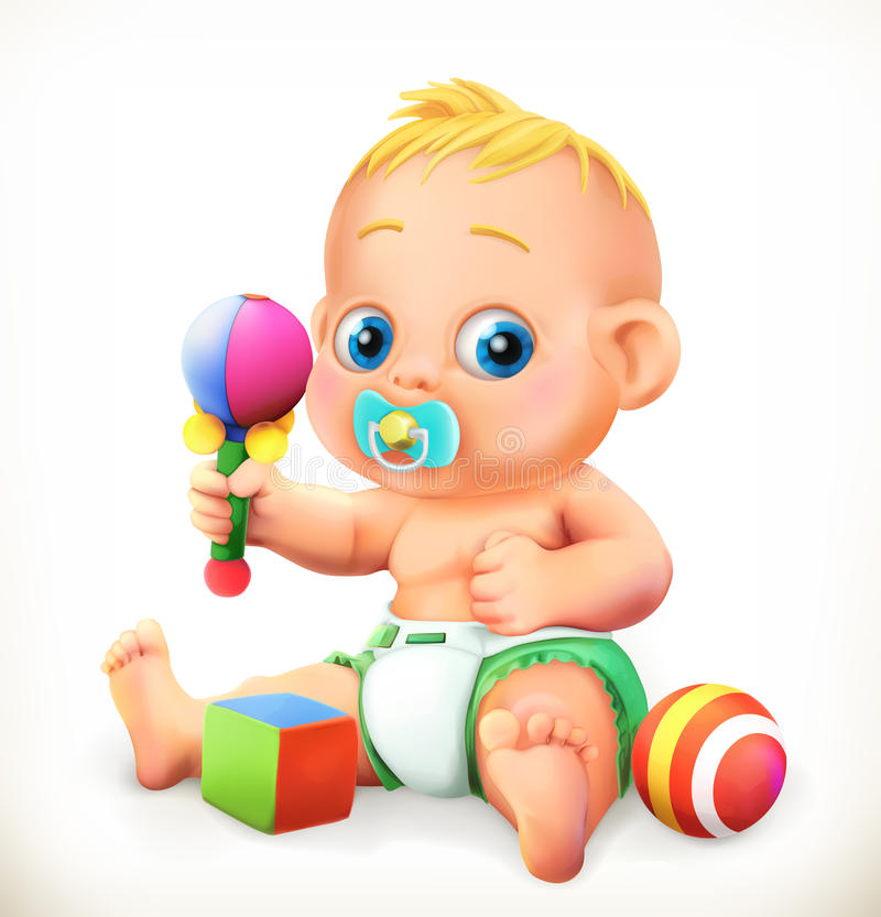 婴孩和玩具,传染媒介象 向量例证