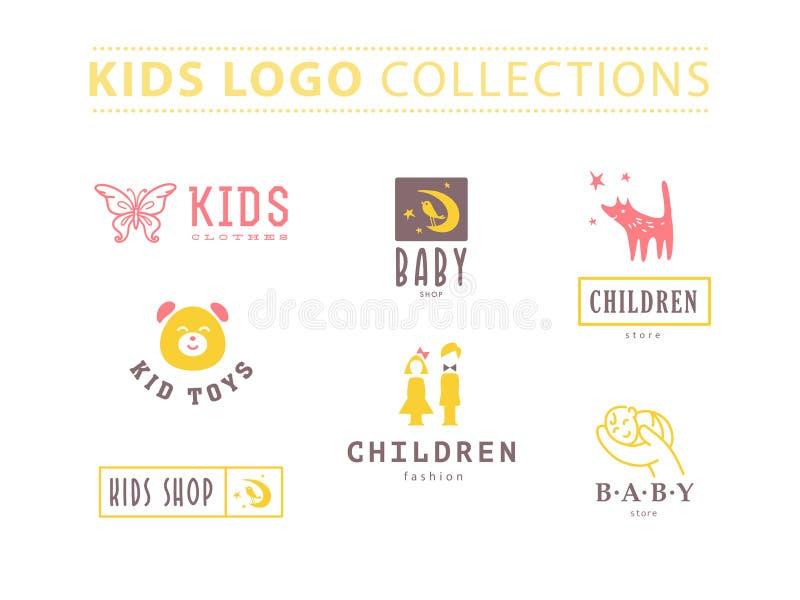 婴孩商标的传染媒介汇集 库存例证