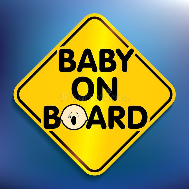 婴孩在船上贴纸 皇族释放例证
