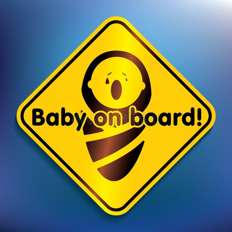 婴孩在船上贴纸 库存例证