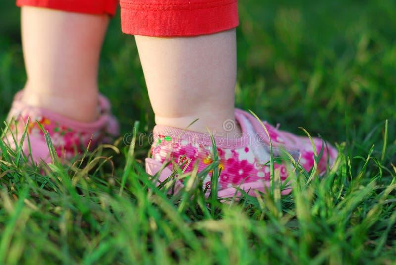 婴孩在绿草的` s脚 免版税库存图片