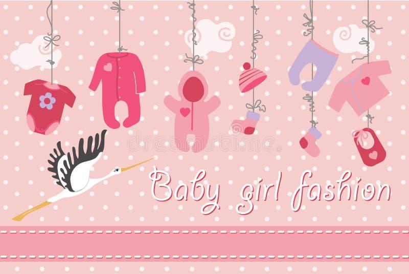 婴孩垂悬在树的出生的衣裳 男婴时尚 向量例证