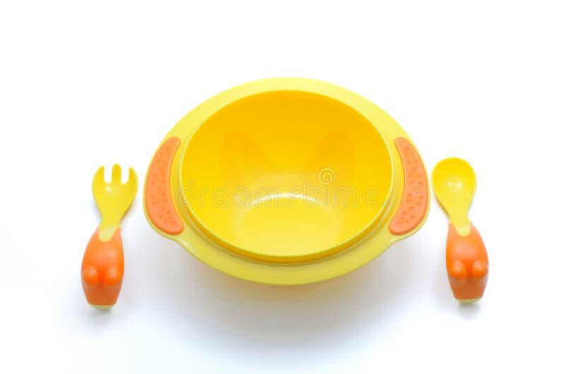 婴孩塑料碗 免版税图库摄影