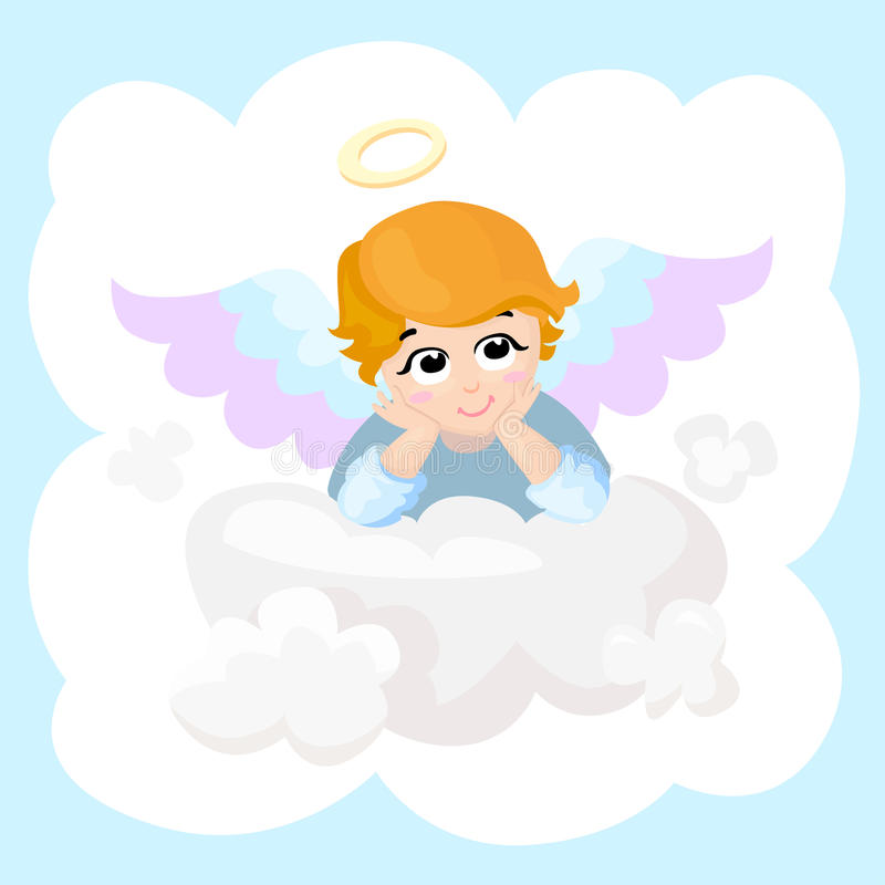 婴孩天使传染媒介漫画人物 在云彩的翼 2007个看板卡招呼的新年好 丘比特说谎的被隔绝的例证 皇族释放例证