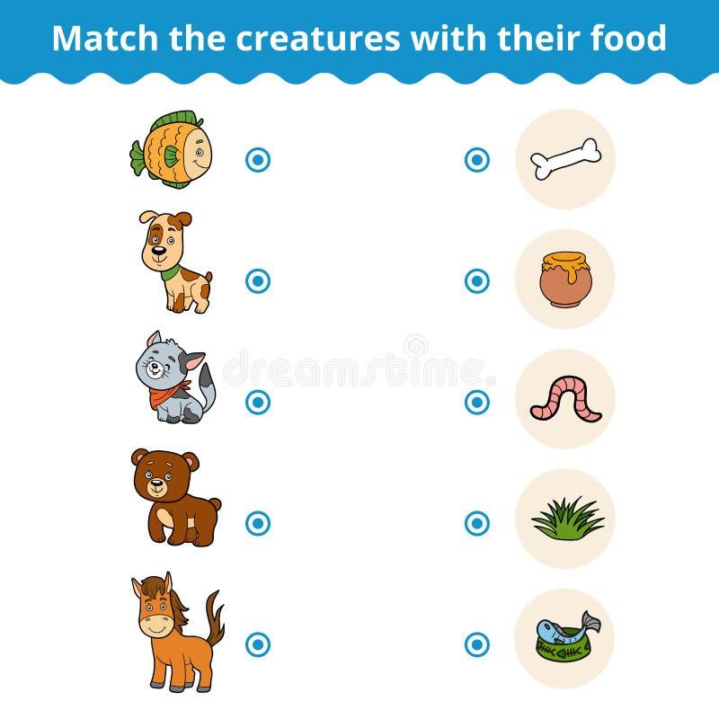 孩子、动物和喜爱的食物的相配的比赛 库存例证
