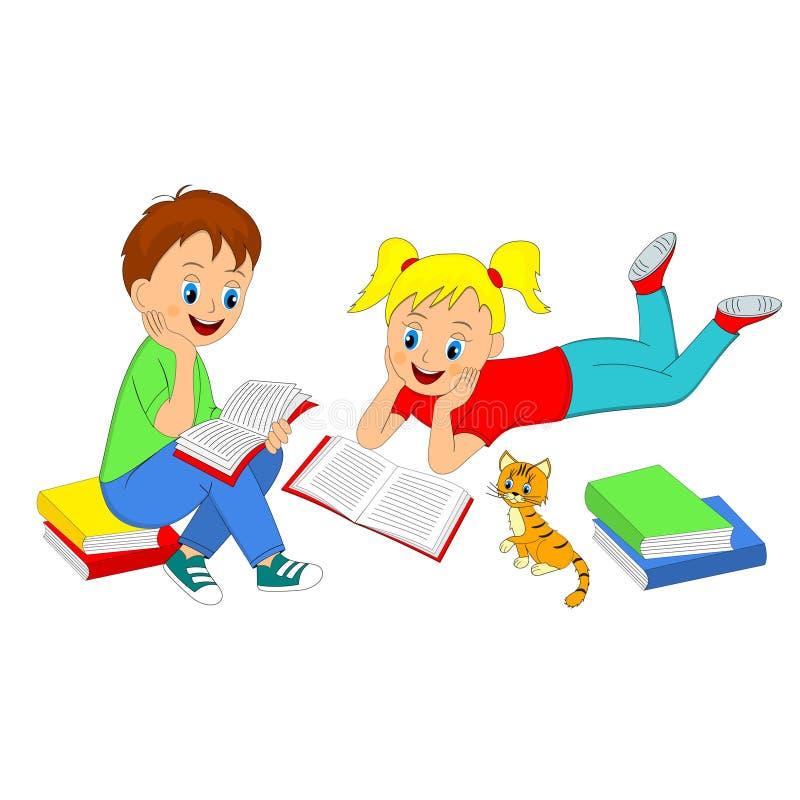 孩子、女孩和男孩读了书 向量例证
