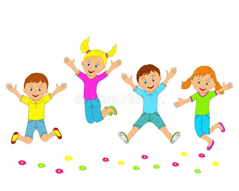 孩子、微笑的男孩和的女孩跳跃和 库存例证