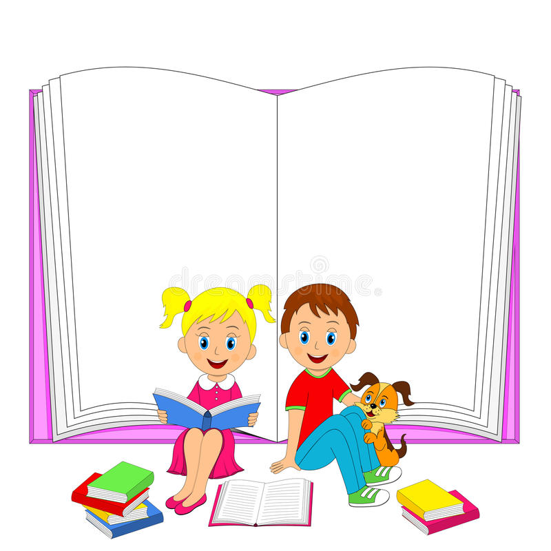 孩子、男孩、女孩和狗与书 向量例证