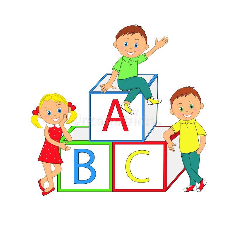 孩子、男孩、女孩和立方体 向量例证