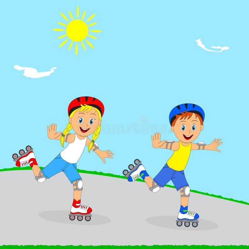 孩子、rollerblading的男孩和的女孩 皇族释放例证