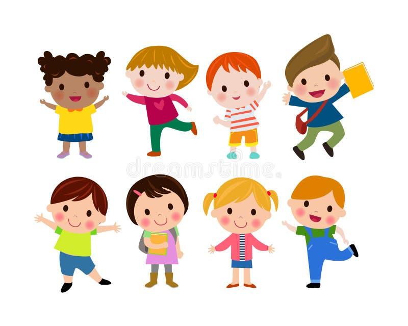 孩子上学,回到学校,逗人喜爱的动画片孩子,愉快的孩子 皇族释放例证
