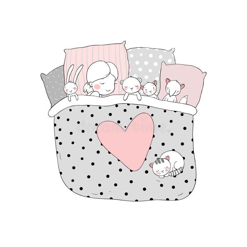 孩子与她的玩具睡觉 向量例证