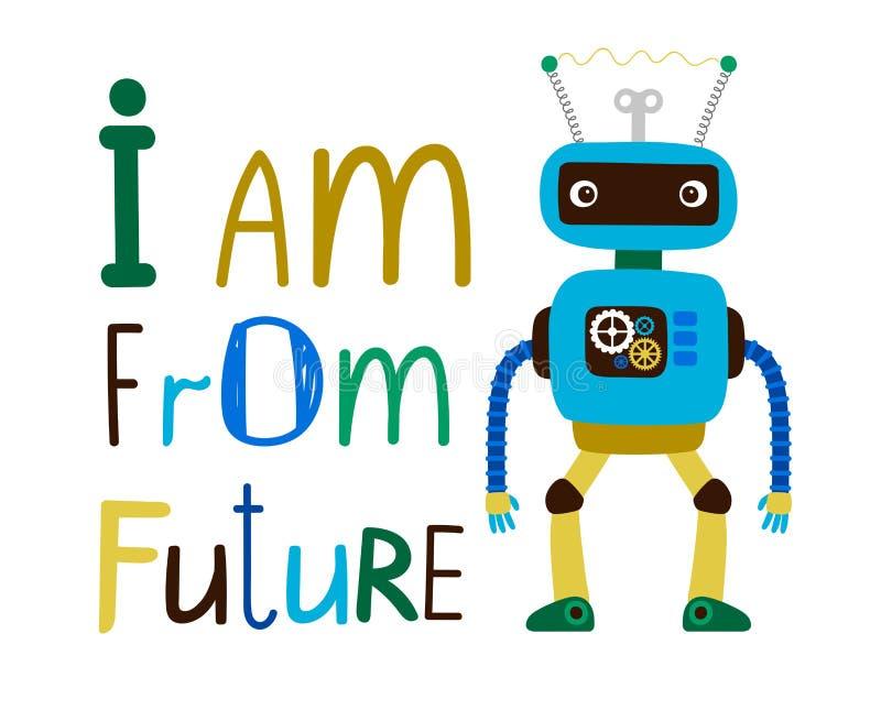 孩子与机器人的T恤杉设计 皇族释放例证