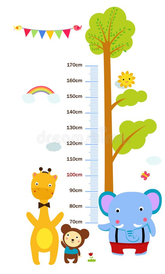 孩子与滑稽的动物的高度标度 皇族释放例证