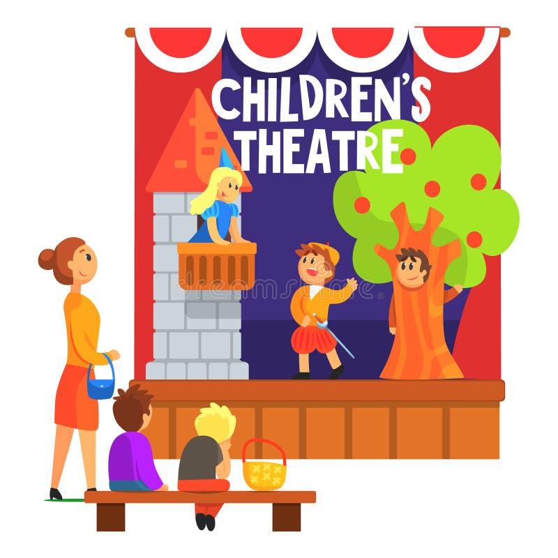 孩子与阳台的罗密欧和朱丽叶场面执行的在非职业剧院与观看其他的学生与老师 向量例证