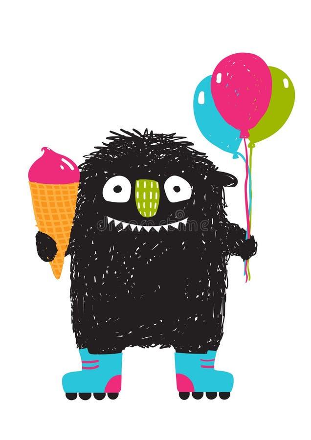 孩子乐趣妖怪用冰淇凌迅速增加滑旱冰动画片 库存例证