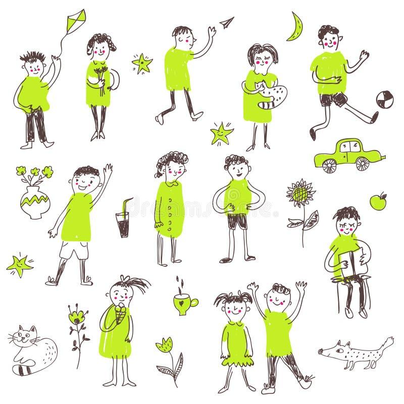 孩子乱画概略集合,滑稽的设计,图表例证 向量例证