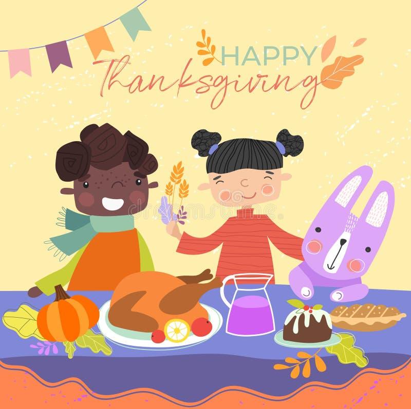 孩子享受感恩晚餐用他们的坐下对烘烤火鸡和布丁的宠物兔子在桌上与 向量例证
