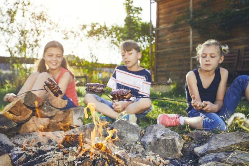 孩子享受营火 库存照片