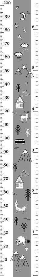 孩子传染媒介在minimalistic斯堪的纳维亚样式的高度图与逗人喜爱的动物、房子和树 测量墙壁或高度 向量例证