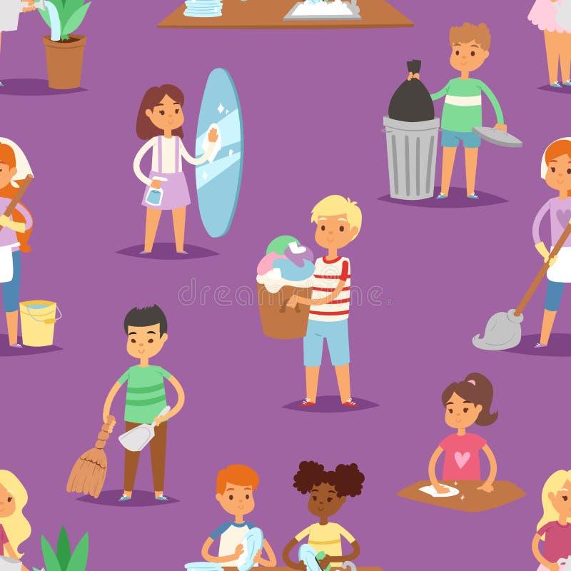 孩子传染媒介洁净室和帮助他们的妈咪家事漫画人物清扫例证五颜六色的集合 向量例证