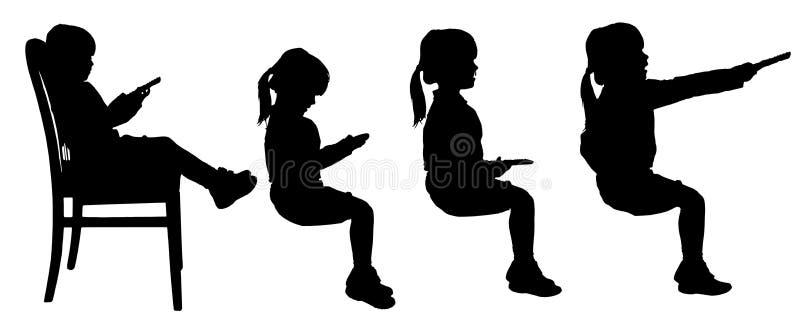 孩子传染媒介剪影  向量例证