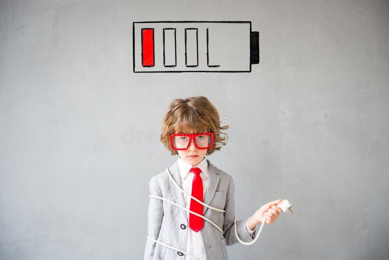 孩子假装是商人 库存图片