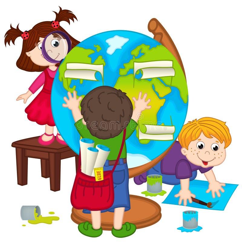 孩子做地球 向量例证