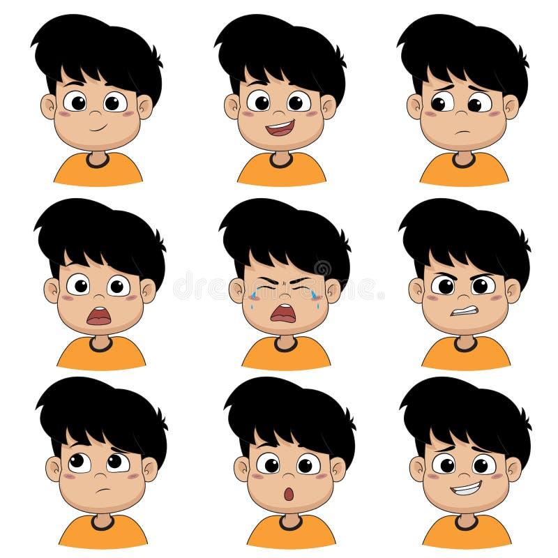 孩子做面孔许多情感 向量例证
