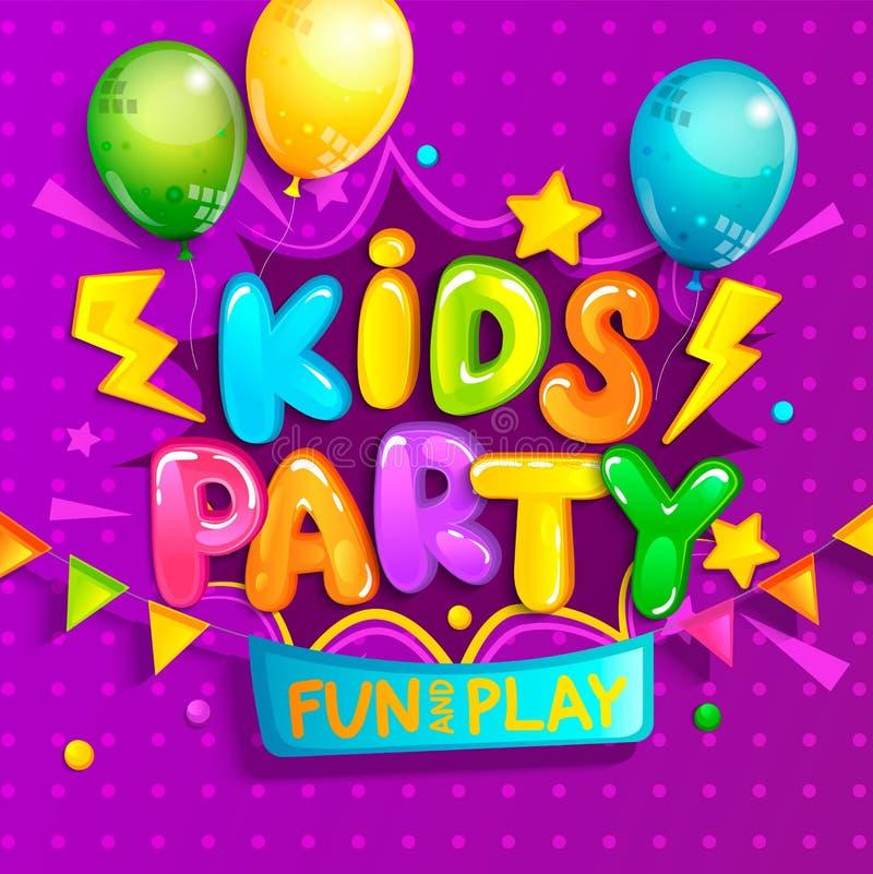 孩子党在动画片样式的欢迎横幅 皇族释放例证