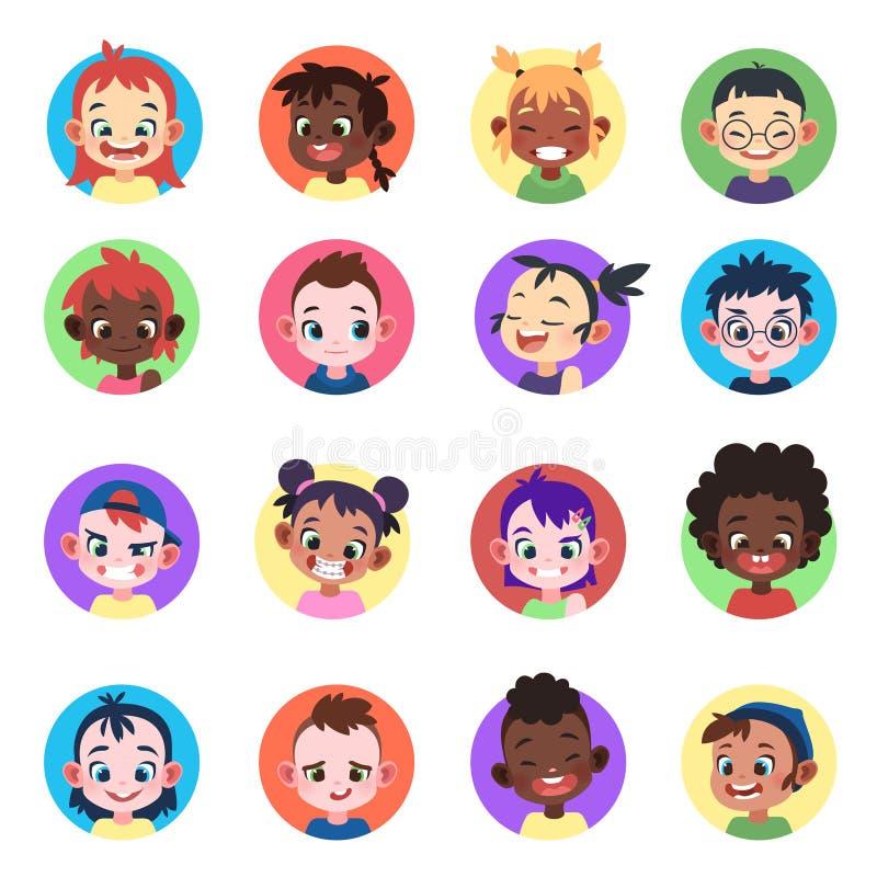 孩子具体化 面对种族逗人喜爱的男孩女孩具体化顶头儿童外形画象字符网友年轻女性动画片 向量例证