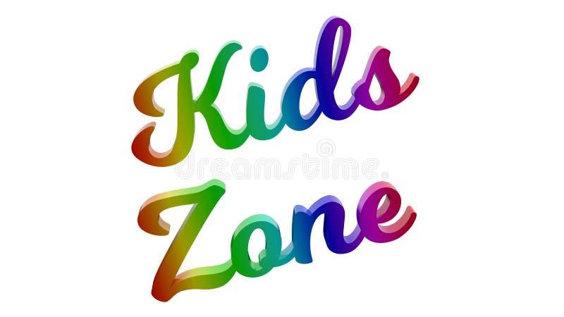 孩子分区书法3D被回报的文本例证 向量例证