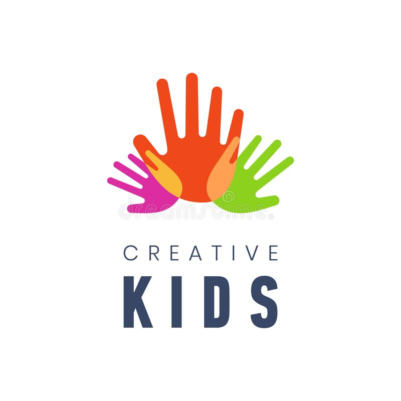 孩子创造性的模板商标传染媒介例证 在白色背景的五颜六色的手棕榈 皇族释放例证