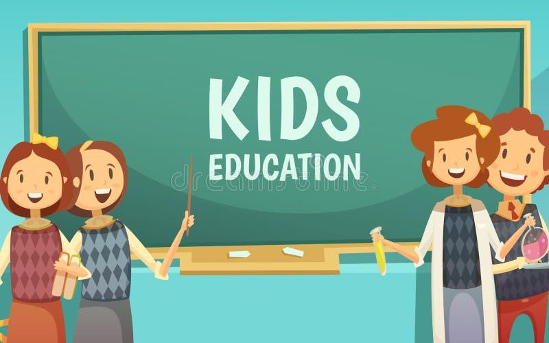 孩子初等教育动画片海报 库存例证