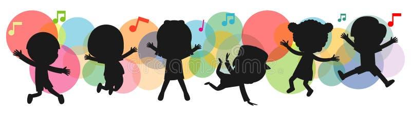 孩子剪影跳舞,儿童跳舞霹雳舞 跳跃在背景五颜六色的被隔绝的传染媒介的儿童剪影 库存例证